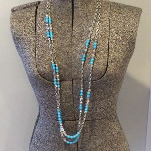 Inc long turquoise and silver necklace - beaded
